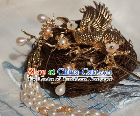 Chinese Ancient Handmade Hanfu Crane Hairpins Hair Accessories Pearls Tassel Step Shake for Women