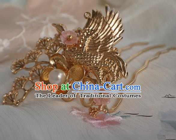 Chinese Ancient Handmade Hanfu Crane Hair Comb Hairpins Hair Accessories for Women