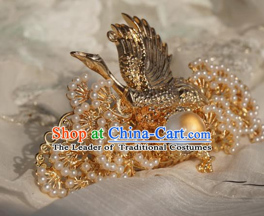 Chinese Ancient Handmade Hanfu Crane Phoenix Coronet Hairpins Hair Accessories for Women