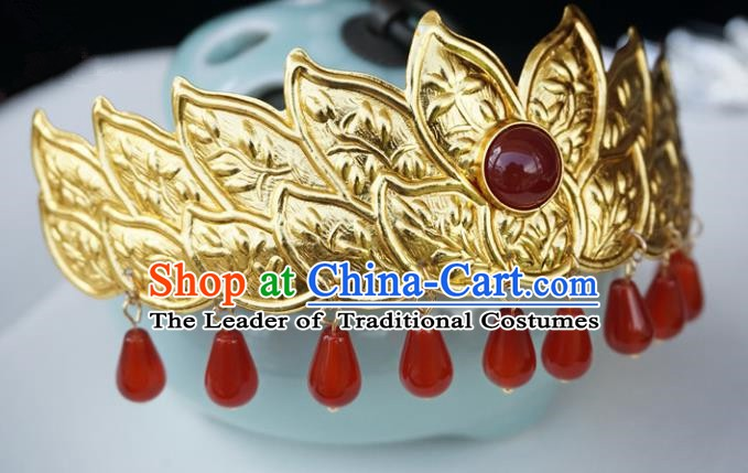 Chinese Ancient Handmade Golden Lotus Hair Crown Hanfu Hairpins Hair Accessories for Women