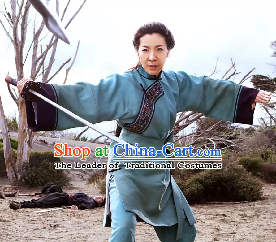 Top Crouching Tiger Hidden Dragon Style Tai Chi Kongfu Taiji Long Blouse Clothing Complete Set