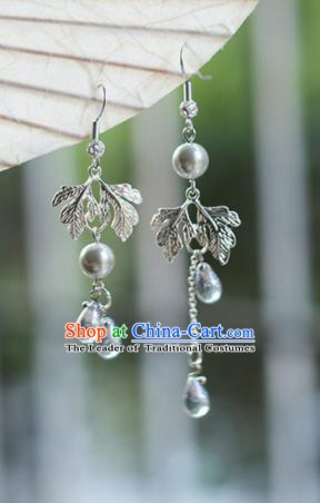 Chinese Handmade Ancient Jewelry Accessories Hanfu Crystal Tassel Earrings for Women