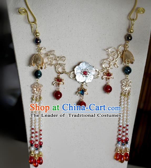 Chinese Handmade Ancient Jewelry Accessories Conophytum Pucillum Hanfu Tassel Necklace for Women