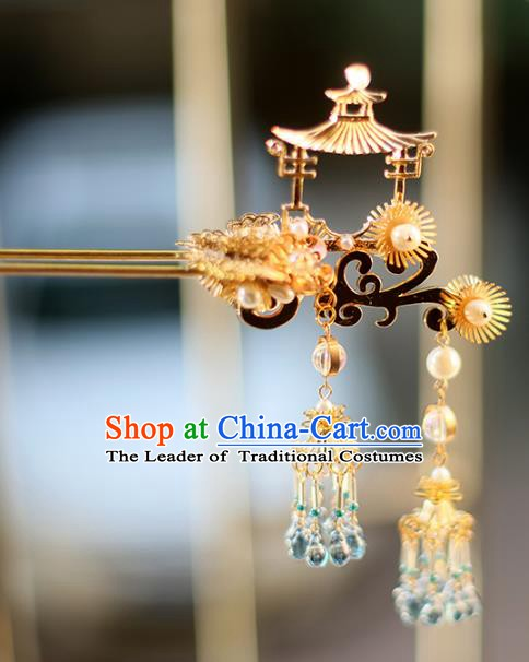 Chinese Ancient Hanfu Handmade Golden Pavilion Hairpins Tassel Hair Clip Hair Accessories for Women