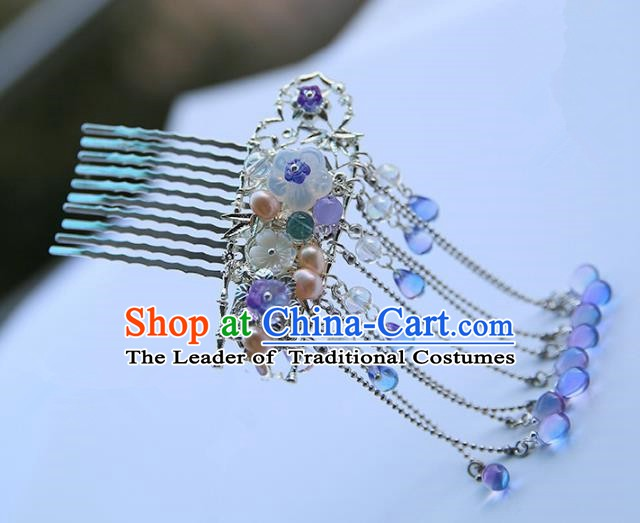 Chinese Ancient Hanfu Handmade Blue Beads Tassel Hair Comb Hairpins Hair Accessories for Women