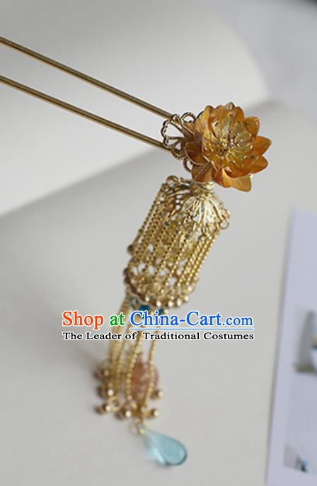 Chinese Ancient Hanfu Handmade Tassel Hair Clips Golden Lotus Hairpins Hair Accessories for Women