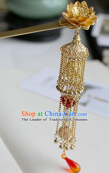 Chinese Ancient Hanfu Handmade Hair Clips Golden Tassel Lotus Hairpins Hair Accessories for Women