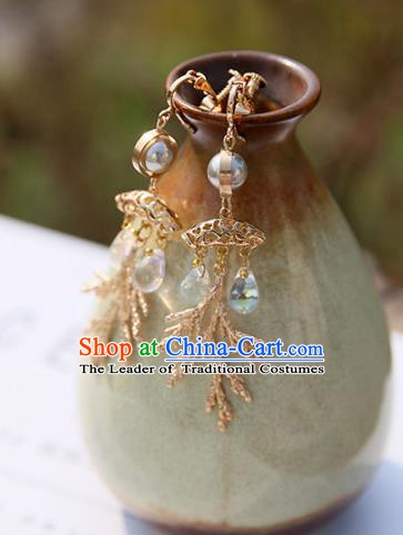 Chinese Handmade Ancient Jewelry Accessories Eardrop Hanfu Golden Earrings for Women