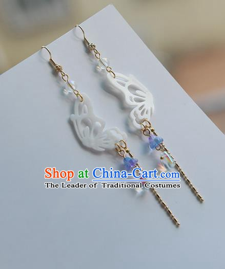 Chinese Handmade Ancient Jewelry Accessories Shell Butterfly Eardrop Hanfu Earrings for Women