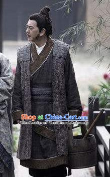 Traditional Chinese Ancient Han Dynasty Liu Bang Historical Costume for Men