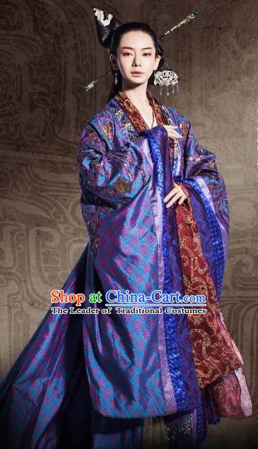 Chinese Ancient Warring States Period Imperial Princess Jinshu Hanfu Dress Embroidered Replica Costume for Women