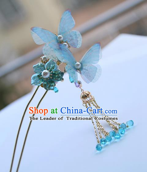 Chinese Ancient Hanfu Handmade Blue Butterfly Hairpins Hair Stick Hair Accessories for Women