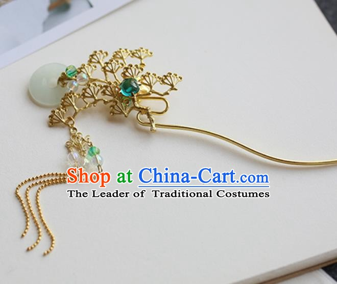 Chinese Ancient Hanfu Handmade Hairpins Tassel Step Shake Golden Pineburst Hair Clip Hair Accessories for Women