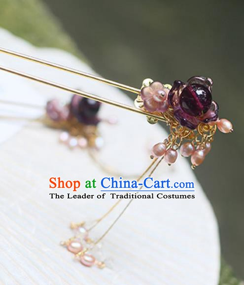 Chinese Ancient Hanfu Handmade Hairpins Purple Coloured Glaze Tassel Hair Clip Hair Accessories for Women