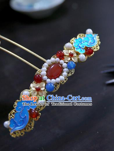 Chinese Ancient Hanfu Handmade Hairpins Blueing Hair Clips Hair Accessories for Women