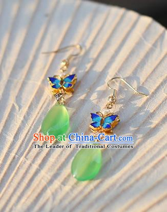 Ancient Chinese Handmade Hanfu Earrings Accessories Blueing Butterfly Eardrop for Women