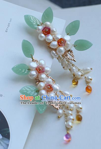Chinese Ancient Hanfu Handmade Hairpins Pearls Hair Claws Shake Hair Accessories for Women