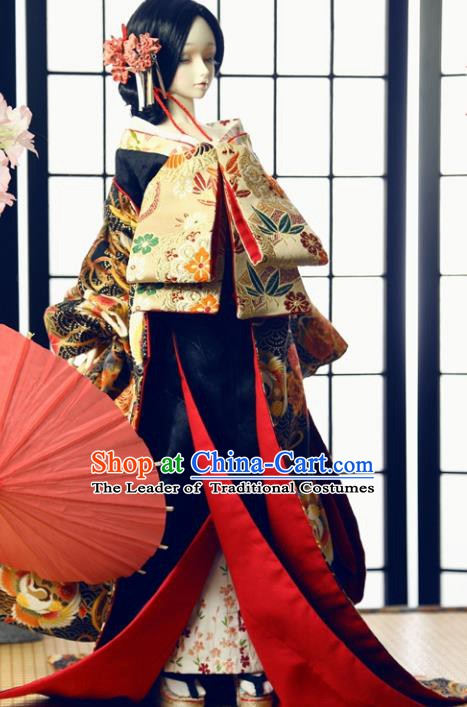 Traditional Asian Japan Costume Japanese Fashion Apparel Courtesan Kimono Vibration Sleeve Kimono for Women