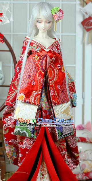 Traditional Asian Japan Costume Japanese Courtesan Kimono Red Vibration Sleeve Kimono for Women