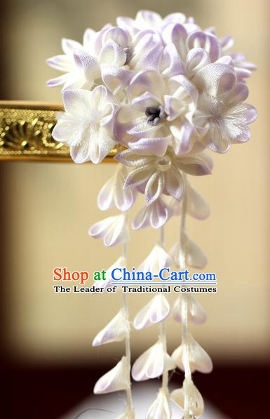 Traditional Asian Japan Hair Accessories White Flowers Hairpins Japanese Fashion Apparel Kimono Headwear for Women