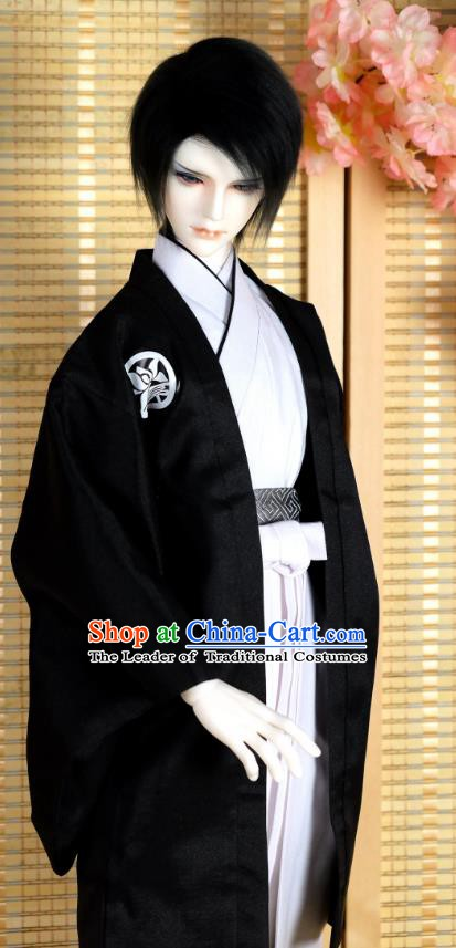 Traditional Asian Japan Costume Japanese Prince Kimono Black Clothing for Men