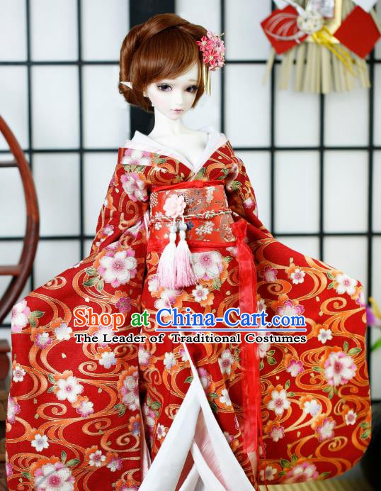 Traditional Asian Japan Costume Japanese Courtesan Red Kimono Vibration Sleeve Kimono for Women