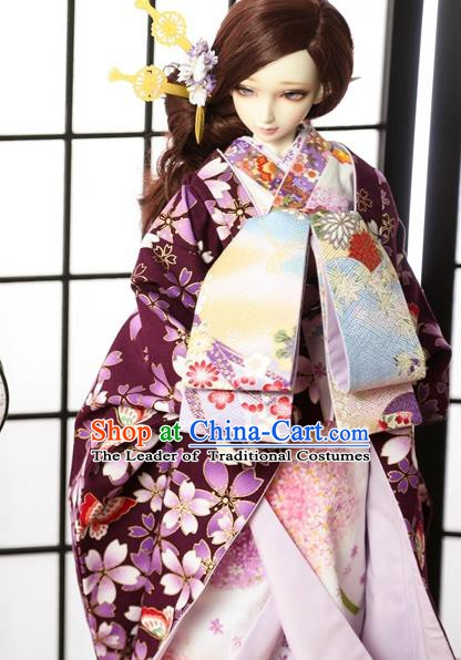 Traditional Asian Japan Costume Japanese Courtesan Iromuji Kimono Purple Sakura Vibration Sleeve Kimono for Women