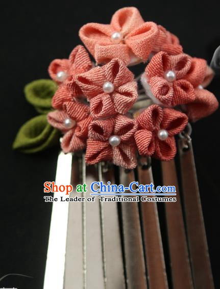 Traditional Asian Japan Hair Accessories Red Flowers Hairpins Japanese Fashion Apparel Kimono Headwear for Women