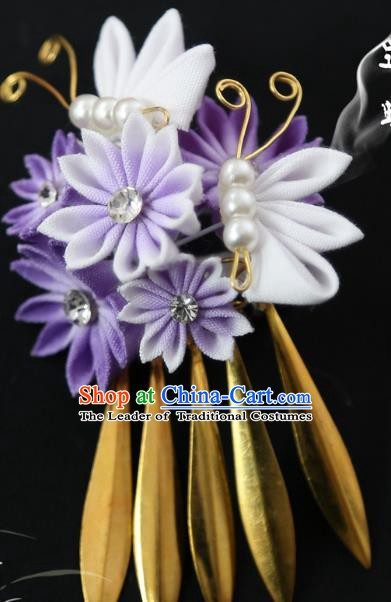 Traditional Asian Japan Hair Accessories Purple Flowers Hairpins Japanese Fashion Apparel Kimono Headwear for Women