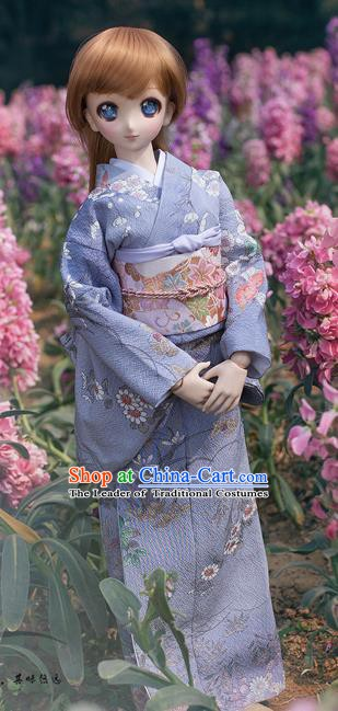Traditional Asian Japan Costume Japanese Courtesan Iromuji Kimono Blue Kimono for Women