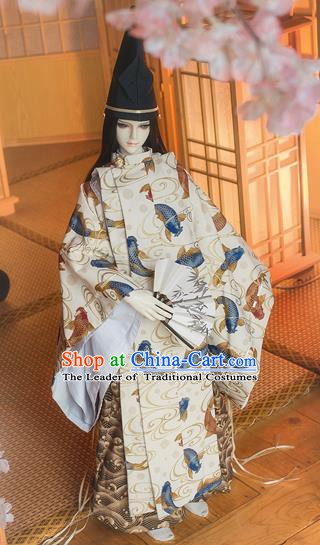 Traditional Asian Japan Costume Japanese Prince Kimono Hunting Clothing for Men