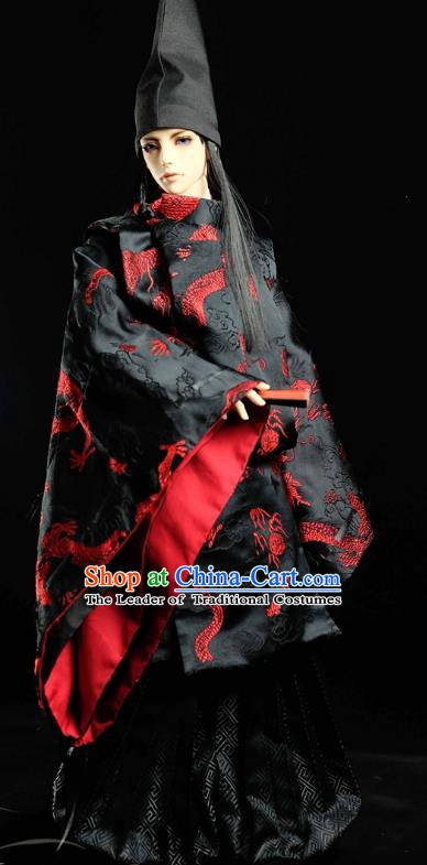 Traditional Asian Japan Costume Japanese Prince Black Kimono Hunting Clothing for Men