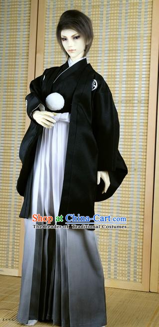 Traditional Asian Japan Costume Japanese Prince Kimono Black Haori Hakama Clothing for Men