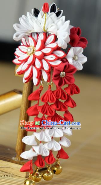 Traditional Asian Japan Hair Accessories Red Flowers Tassel Hairpins Japanese Fashion Apparel Kimono Headwear for Women