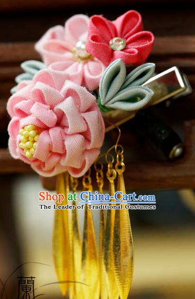 Traditional Asian Japan Hair Accessories Pink Flowers Tassel Hairpins Japanese Fashion Apparel Kimono Headwear for Women