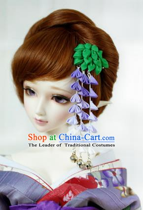 Traditional Asian Japan Hair Accessories Green Flowers Tassel Hairpins Japanese Fashion Apparel Kimono Headwear for Women