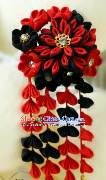 Traditional Asian Japan Hair Accessories Black Flowers Tassel Hairpins Japanese Fashion Apparel Kimono Headwear for Women