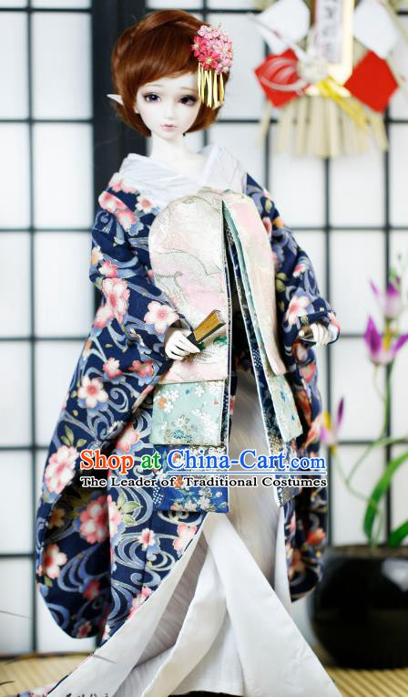 Traditional Asian Japan Costume Japanese Iromuji Kimono Blue Vibration Sleeve Kimono Clothing for Women