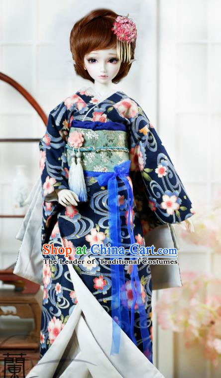 Traditional Asian Japan Costume Japanese Iromuji Kimono Deep Blue Vibration Sleeve Kimono Clothing for Women