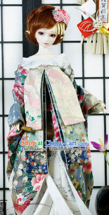Traditional Asian Japan Costume Japanese Iromuji Kimono Printing Peony Vibration Sleeve Kimono Clothing for Women