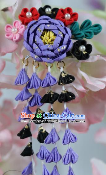 Traditional Asian Japan Hair Accessories Purple Flowers Tassel Hairpins Japanese Kimono Headwear for Women