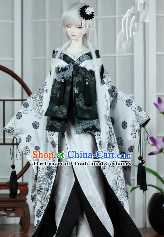 Traditional Asian Japan Costume Japanese Iromuji Kimono White Vibration Sleeve Kimono Clothing for Women