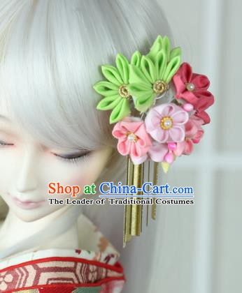 Traditional Asian Japan Hair Accessories Courtesan Flowers Hairpins Japanese Kimono Headwear for Women