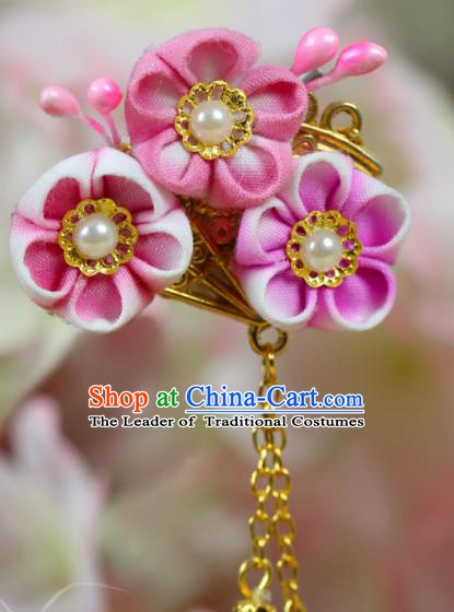Traditional Asian Japan Hair Accessories Courtesan Pink Flowers Hairpins Japanese Kimono Headwear for Women