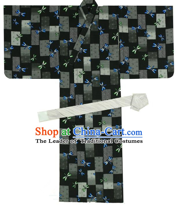 Traditional Asian Japan Costume Japanese Prince Kimono Black Yukata Haori Hakama Clothing for Men