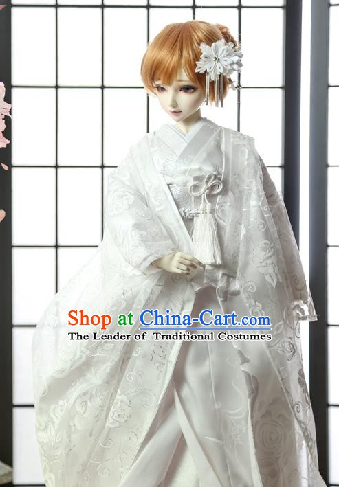 Traditional Asian Japan Costume Japanese Shiromuku Kimono Clothing White Vibration Sleeve Kimono for Women
