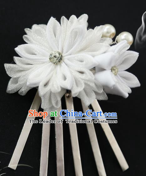 Traditional Asian Japan Courtesan Hair Accessories White Flowers Hairpins Japanese Kimono Headwear for Women