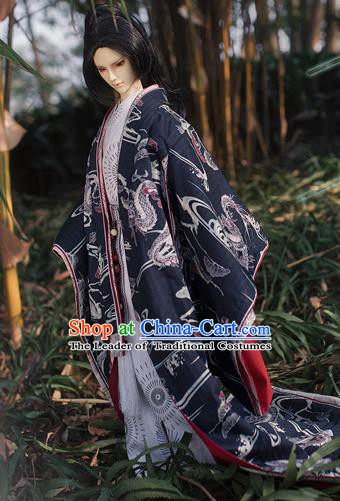 Traditional Asian Japan Costume Japanese Prince Kimono Yukata Haori Hakama Clothing for Men