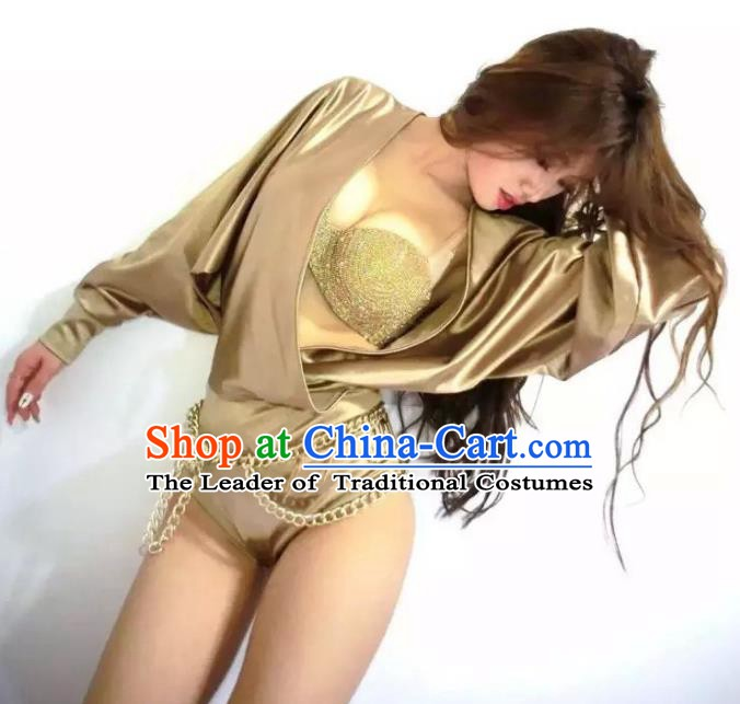Top Grade Style Stage Performance Catwalks Costume Golden Bikini Suits for Women