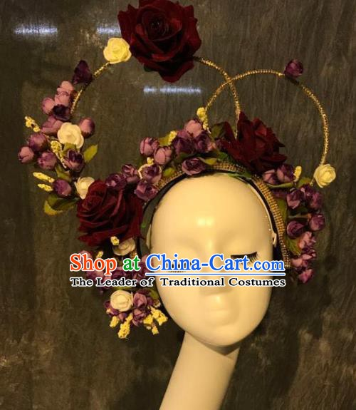 Top Grade Handmade Hair Accessories Red Rose Hair Crown Halloween Stage Performance Catwalks Headwear for Women